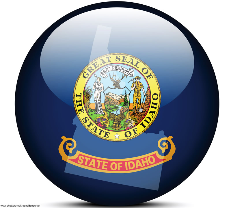 State of Idaho seal in a blue circle icon with