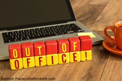 """Lettered blocks that spell """"Out of Office"""""""
