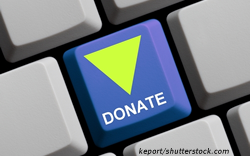 "Blank keyboard with one button that states ""Donate"" with a green triangle"